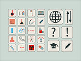 Vintage modern vector set of icons for science
