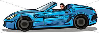 Man in blue cabriolet
