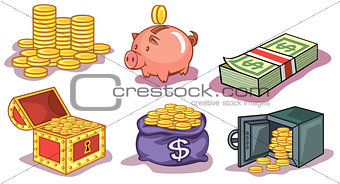 Money and coins icons