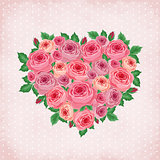 Heart of roses on vintage background