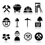 Coal mine, miner icons set