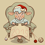 Christmas lamb sitting in a chair and knits symbol 2015
