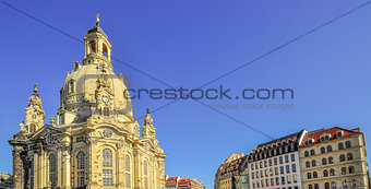 Church Frauenkirche in Dresden with resident buildings