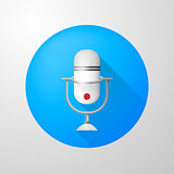 Vector icon for blog. White vertical microphone