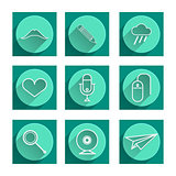 Flat vector icons for blog