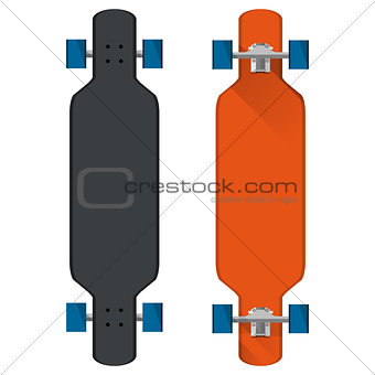 Flat vector illustration of colored longboards