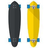 Flat vector illustration of oval longboards