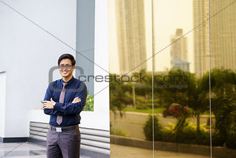 Portrait proud happy confident asian office worker