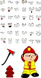firefighter kid cartoon set10