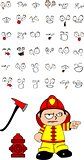 firefighter kid cartoon set9