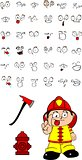 firefighter kid cartoon set3