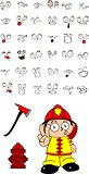 firefighter kid cartoon set2