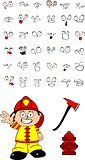 firefighter kid cartoon set1