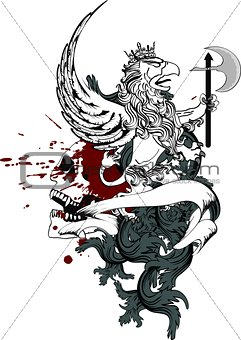 gryphon tattoo tshirt isolated coat of arms3