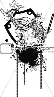gryphon tattoo tshirt isolated coat of arms0