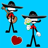 mexican mariachi pictogram cartoon set3