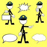 police man pictogram cartoon set4