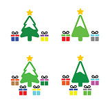 Christmas tree with present icons set