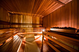 Inside of modern Finnish sauna