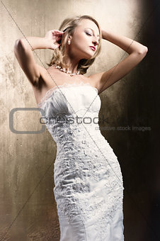 Beautiful bride posing indoors