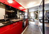 Interior of modern red kitchen
