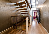 Wooden stairway in home