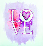 Word LOVE over abstract watercolor painting and purple heart