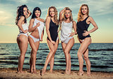 Five sexy ladies posing on the beach at sunset