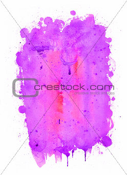 Abstract watercolor painting. Purple, red and pink colors