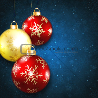 Christmas balls on a blue background
