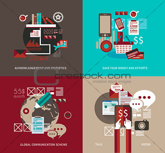 Flat Style UI icons for infographics