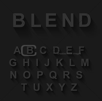 Classic alphabet with modern long shadow effect.