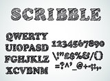 Scribble bordered alphabet with pen sketch  effect