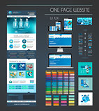 One page website flat UI UX design template