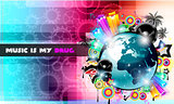PArty Club Flyer for Music event PArty Club Flyer for Music event with Explosion of colors. with Explosion of colors.