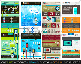 One page website flat UI design template SET 1.