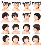 asian cute baby girl making different facial expressions
