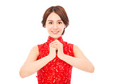 happy chinese new year.beautiful woman with congratulation