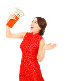 asian young woman holding a red envelope of dollar