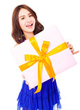 pretty young woman holding a gift box