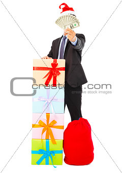 business man holding money with gift box and bag