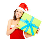 happy young woman with a christmas gift box