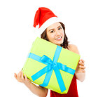 young woman with christmas gift box over white background
