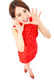 high angle shot of  young woman with cheongsam
