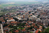 Panorama of the Romanian city of Deva bird's-eye view.