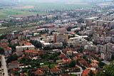 Panorama of the Romanian city of Deva bird's-eye view.