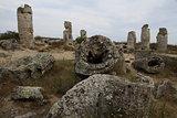 Stone Forest in Bulgaria. Stones mineral origin.