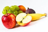fresh apple, banana, grapes, fig, nectarine