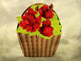 Grunge red roses in basket