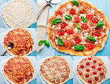Pizza with cherry tomatoes and basil. Step by step
